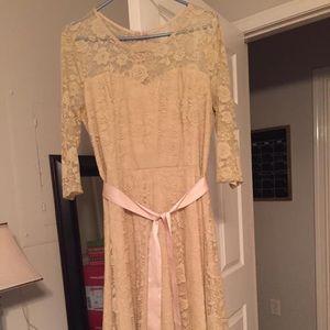 Tan knee length dress